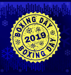 grunge boxing day stamp seal on winter background vector image