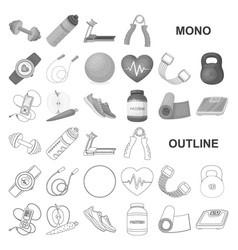 Gym and training monochrom icons in set collection vector