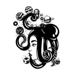 Hand drawn of womens head with octopus planets vector