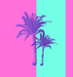 hand drawn palm trees isolated on pastel colors vector image