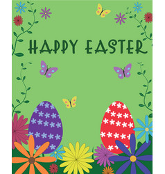 happy easter poster sign text on green background vector image