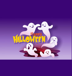 happy halloween banner with ghosts flying in paper vector image
