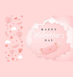 happy valentines day invitation card template vector image