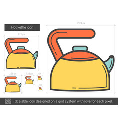 Hot kettle line icon vector