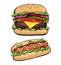 Hotdog and burger fast food vector