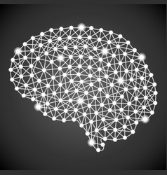 human brain isolated on a black background vector image