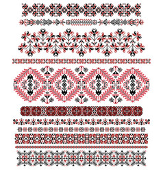 hungarian pixel pattern set for cross-stitch vector image