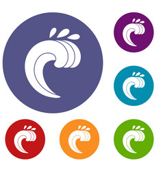 Large curling wave icons set vector