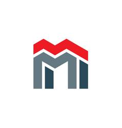 letter m building logo icon symbol vector image