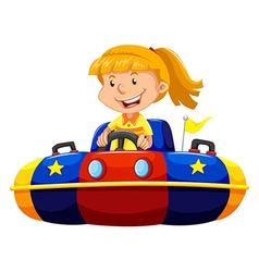 Little girl riding in bump car vector