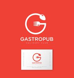Logo gastropub orange gastronomy restaurant vector