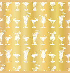 Luxury gold foil frosty cocktail glasses seamless vector