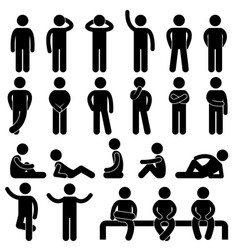 Man basic posture icon sign symbol pictogram a vector