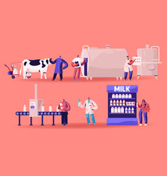 Milk production manufacturing farm industry vector