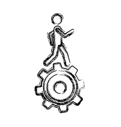 Monochrome sketch of man over pinion vector
