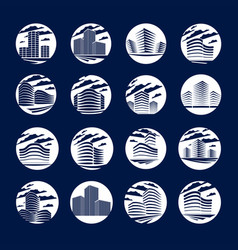 office building round shape icons or logos set vector image