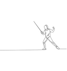 One continuous line drawing young man fencing vector