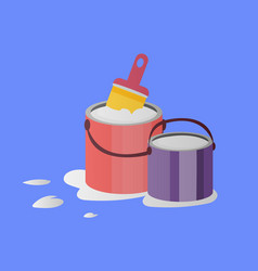 paintbrush and paint buckets vector image