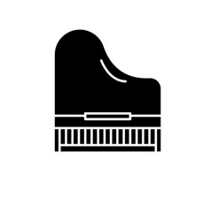 Piano black icon sign on isolated vector