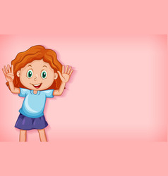 Plain background with happy girl waving hands vector