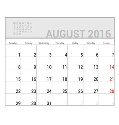 planners for 2016 august vector image