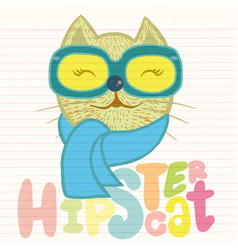 Portrait cat hipster hand drawn animal vector
