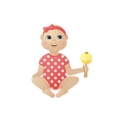 pretty newborn baby girl dressed in romper suit vector image