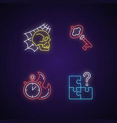 Quest room neon light icons set vector