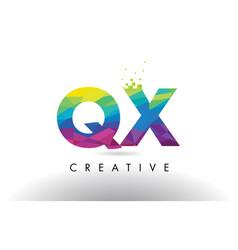 qx q x colorful letter origami triangles design vector image