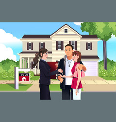 Real estate agent in front a sold house vector