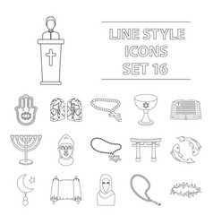 religion set icons in outline style big vector image