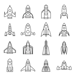 Rocket icons set outline style vector image