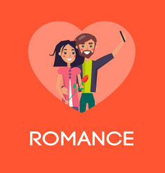 Romance concept couple in love making selfie heart vector