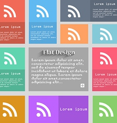 RSS feed icon sign Set of multicolored buttons vector