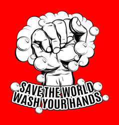 save world wash your hands hand drawn vector image