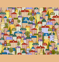 seamless colored city background with cute houses vector image