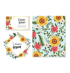 Set card and label with sunflowers and branches vector
