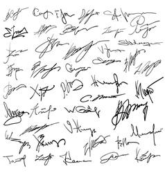 Set of autographs vector image