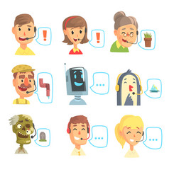 set of funny call centre operators with headset vector image