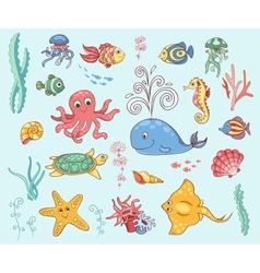 Set of underwater animals vector
