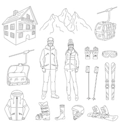 Ski resort line icons set vector