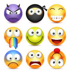 Smiley set devil happyscaredsad emoticon vector