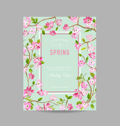 Spring floral frame for invitation wedding vector