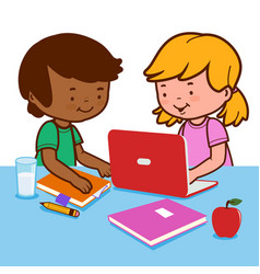 Students doing homework using a computer vector