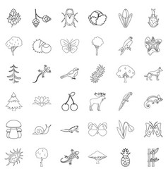 Summer icons set outline style vector