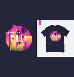 sunset beach california graphic t-shirt design vector image