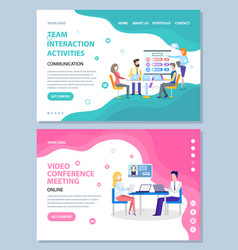 Team interaction activities and conference website vector