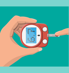 Testing blood glucose concept glucometer vector
