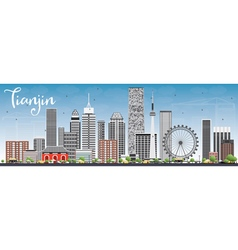 Tianjin Skyline with Gray Buildings and Blue Sky vector image