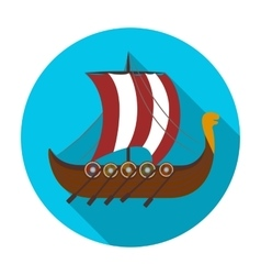 Viking s ship icon in flat style isolated on white vector image